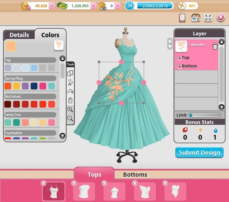 Online Clothes Designer Game in Fashion Designer